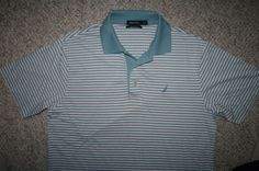 Nautica blue white red polo shirt medium cotton SS mens men man striped 3-button #Nautica #PoloRugby