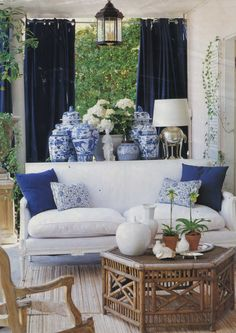 Blue and white porcelain pieces look their best when several of them are grouped together into a collection