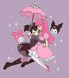 💝💜Kuromi x Melony💝💜 Sanrio Hello Kitty, Hello Kitty My Melody, Hello Kitty Characters, Sanrio Characters, Fictional Characters, Cartoon Kunst, Cartoon Art, Animes Wallpapers, Cute Wallpapers