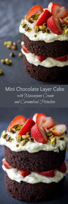 Mini chocolate layer cake with mascarpone cream and caramelized pistachios.