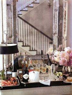 Beautifully styled bar vignette.  Veranda Jan/Feb 2012.  Interior Design by Windsor Smith.  Photography by Luca Trovato.