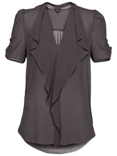 What a cute shirt! This would go with just about everything, I love the deep gray color. Grey Blouse, Work Blouse, Purple Blouse, Sheer Blouse, Passion For Fashion, Love Fashion, Womens Fashion, Fashion Beauty, Girl Fashion