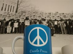 "Create #Peace in front of Ernest Withers' ""I Am A Man"" at the #1968 #Memphis Sanitation Workers Strike. #MLK"