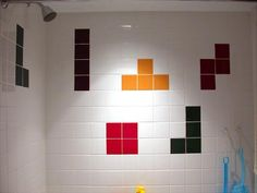 tetris tiles and other bathrms Geek Home Decor, Bath Tiles, Bathroom Tile Designs, Bathroom Ideas, Star Wars Video Games, Tetris, First Video Game, Pixel Design, Custom Shower
