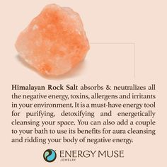 Himalayan Salt Rock absorbs and neutralizes all the negative energy, toxins, allergens and irritants in your environment. Place a small bowl of these rocks in your space for energy cleansing, purifying and detoxifying. #rocksalt #pinksalt #healing #cleansing