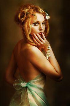 Golden fairy | woman, shoulder, redhead, flower