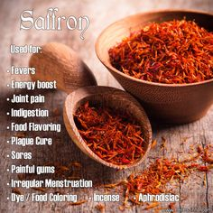 """Uses of Saffron - ancient aphrodisiac, fever cure, rejuvenating """"cure all"""", incense and perfume, food coloring , dye..."""