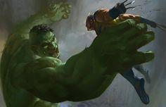 Hulk vs Wolverine by KangJason.deviantart.com on @deviantART