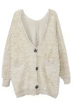 Beige Long Sleeve Pockets Single Breasted Cardigan Sweater 39.00 #SheInside