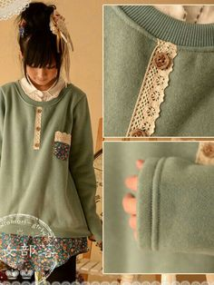 DIY sweater. This can be done with lace, buttons and extra fabric. Picture pretty much shows where to place what. G;)