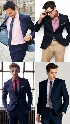 pink shirts matched with navy suits and blazers