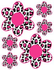 Hot Pink Leopard Flowers wall decals for teen girls and baby nursery decor. Bright, bold colors #decampstudios