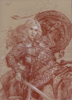 """""""Eowyn: Shield Maiden of Rohan""""      10"""" x 14"""" colored pencil on toned paper  © 2006 Donato Giancola    private collection"""