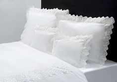 Luxury Bed & Bath Linens, Down, Lingerie, Fragrances and Exquisite Gifts Lace Bedding, Matching Bedding And Curtains, Luxury Bedding Sets, Bath Linens, Bed Styling, High End Fashion, Beautiful Bedrooms, Bed Sheets, Bed Pillows