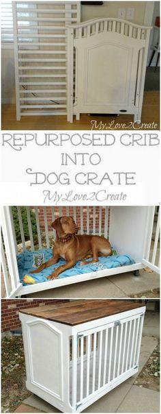 Repurposed Crib Into Dog Crate More