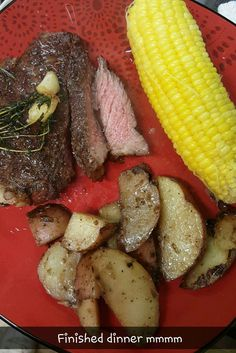 Rib Eye Steak cooked in oven then pan sired each side in hot oil add butter and fresh Tyme Rosemary and Garlic How To Cook Steak, Steaks, I Foods, Garlic, Oven, Butter, Fresh, Meat, Vegetables