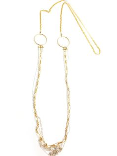 """This simple necklace in 14k gold fill long chain measure in 34"""" length, pair it with a beautiful dress and you're ready to go.  Handmade by myself, Stacee Gillelen."""