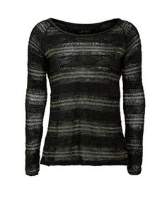 Black (Black) Dark Green Stripe Knit Split Back Jumper | 263654401 | New Look