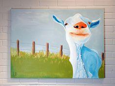 Huge Goat Painting Canvas Art Original 30x40 by Logan Berard