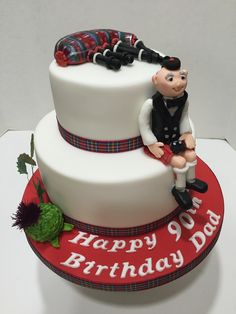 90th Birthday Cake Scotsman with Bagpipes a Celtic Recipes and