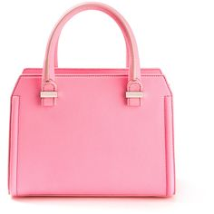 Victoria Beckham Victoria Mini Neon Pink Leather Handbag ($930) ❤ liked on Polyvore featuring bags, handbags, shoulder bags, purses, accessories, pink leather handbag, leather man bag, man bag, handbags & purses and handbags shoulder bags