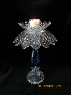 Glass garden art or candle holder made with by GraceGlassArt, $45.00