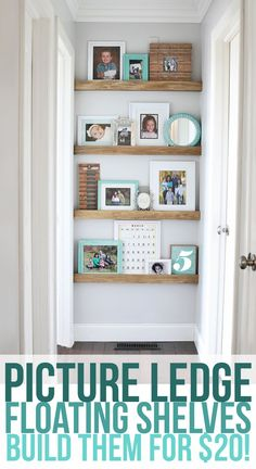 How to build narrow floating shelves with a picture ledge. Decorate the end of your hallway in just a few hours for about $20. This is so pretty! #homedecor #diy #shelves #pictureledge #floatingshelves