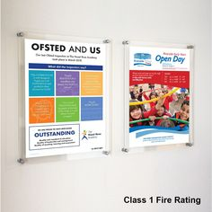 Class 1 Fire rated wall mounting acrylic poster frames for schools, hospitals, airports and many other public buildings where fire rated materials are a requirement. Perfect for high traffic areas and supplied with satin silver finish stand off wall mounts. Poster Wall, Poster Frames, Frames On Wall, Ofsted Inspection, Clear Perspex, Photo Picture Frames, Off The Wall, Star Shape, Wall Mount