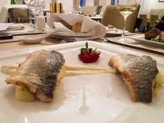 Grilled sea bass with celeriac puree, La Ratte potatoes and tomato jam at Signature Restaurant in Warsaw