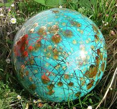 Garden Art by Anna Garden Globe Aqua Color ...Etsy
