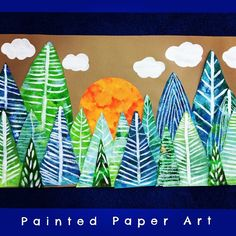 Have you ever had a shortened art class because of a weather delay? Why not make a mini mural! Each student created their own tree with patterns and previously painted paper. Put them all together and display for all to see. #arted #elementaryartteacher #arteducation #elementaryschool #artteachers #artschool #kidspainting #kidscrafts #teachersoftpt #teachers #iteachtoo #iteachart #letcreate #primaryart #primaryschool