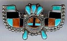 VINTAGE ZUNI INDIAN STERLING SILVER INLAID TURQUOISE CORAL & ONYX PIN