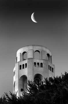 Moon Over Coit Tower in San Francisco