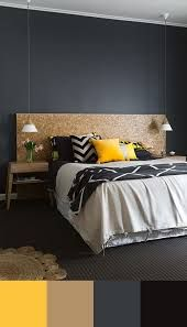 Image result for interior colour scheme - black, light grey, mustard, blue, timber