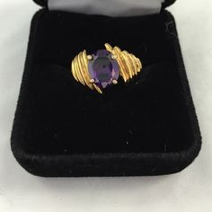 Gold amethyst ring Size 8 gold setting amethyst stone marked Jewelry Rings