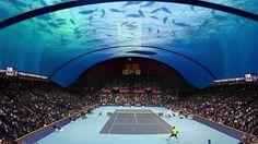 Tennis Court Boasts Ocean Life as Spectators - http://www.psfk.com/2015/06/dubai-attractions-dubai-underwater-tennis-court-palm-islands.html