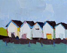 "Daily Paintworks - ""Five Boathouses"" - Original Fine Art for Sale - © Donna Walker"