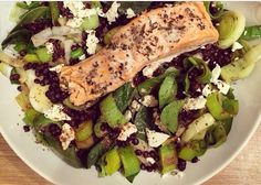 Recipe from Clean Eating Alice. Salmon, sautéed leeks, lentils and feta.