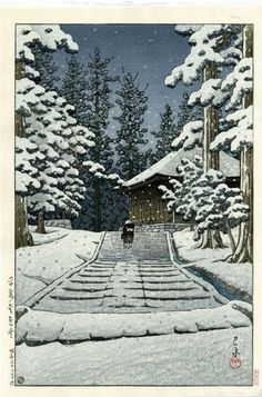 ".    The Sketchbooks of KAWASE Hasui -  ""Konjikido in Snow, Hiraizumi"""