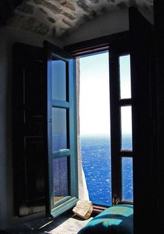 Window to Aegean Archipelagos, Photo taken from Monastery of Panagia Hozoviotissa in Amorgos island. Cyclades, Greece - photo by Window View, Open Window, Through The Window, Belle Photo, Windows And Doors, Places To Go, Beautiful Places, Around The Worlds, Design