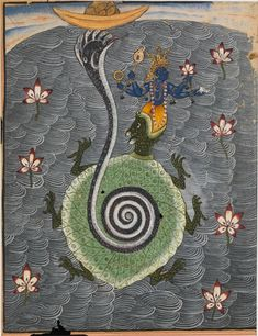 The Tortoise Avatar of Vishnu. Bikaner, India, dated 1694. Opaque watercolor with gold on paper. 10 x 7 7/8 inches (25.5 by 20 cm) © Oliver Forge & Brendan Lynch Ltd
