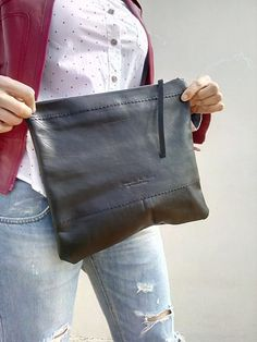 Free shipping/ Hand Made Clutch/ Blach Large Clutch/ от LaraKlass