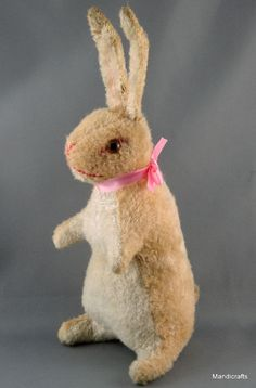 Bunny #Rabbit Artsilk #Plush Germany Standing Glass Eyes 19cm 7in c1950s Vtg
