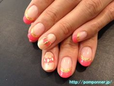 gold coral nails