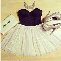 TULLE TUTU SKIRT. Only thing I don't like is the necklace should be more dainty and I'd use a different clutch.