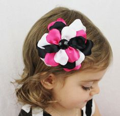 Hot Pink Black White Flower Hair Bow  Flower by SweetestBugBows, $10.00