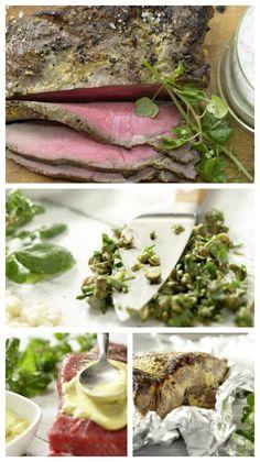Das Roastbeef wird nach dem Braten in Alufolie gewickelt und muss ruhen: Roastbeef mit Mandel-Remoulade und Brunnenkresse | http://eatsmarter.de/rezepte/roastbeef-mandel-remoulade