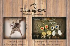 Custom handcrafted bullet casing base dangle earrings with genuine swavorski crystal stone by Flaming Hope