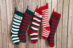 Knitted Christmas Stockings / Personalized by CampKitschyKnits, $32.00