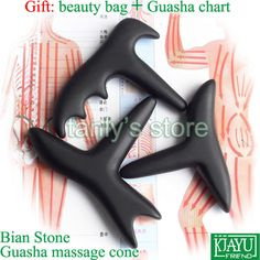 Wholesale & Retail Traditional Acupuncture Massage Tool / Natural Bian stone / Guasha msssage cone / Scrapping kit 3pieces/lot $58.00